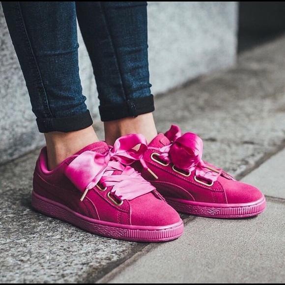 cheaper 4cf7e 7e4eb Puma Suede Heart Satin Sneakers in Magenta